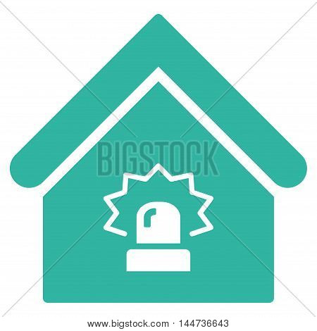 Realty Alarm icon. Glyph style is flat iconic symbol, cyan color, white background.