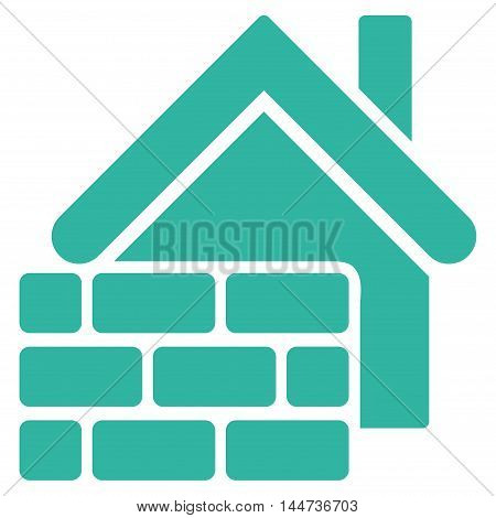 Realty Brick Wall icon. Glyph style is flat iconic symbol, cyan color, white background.