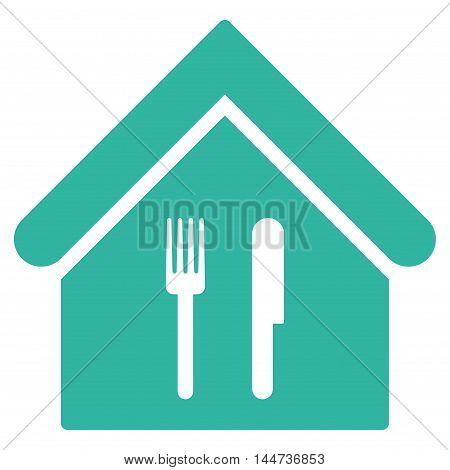 Restaurant icon. Glyph style is flat iconic symbol, cyan color, white background.