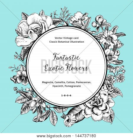 Wreath with exotic flowers. Black and white magnolia camellia hyacinth pomegranate on mint background. Vector Vintage card.