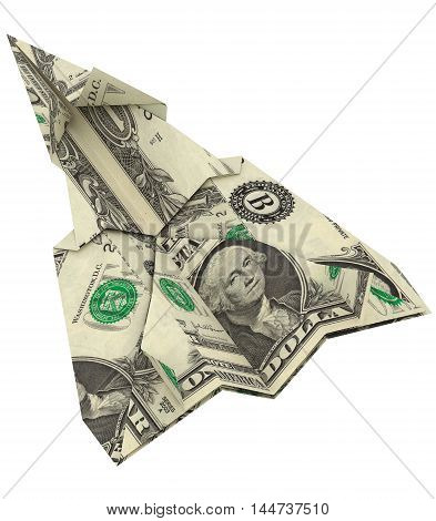 Paper airplanes made out of money on the white background 3d rendering