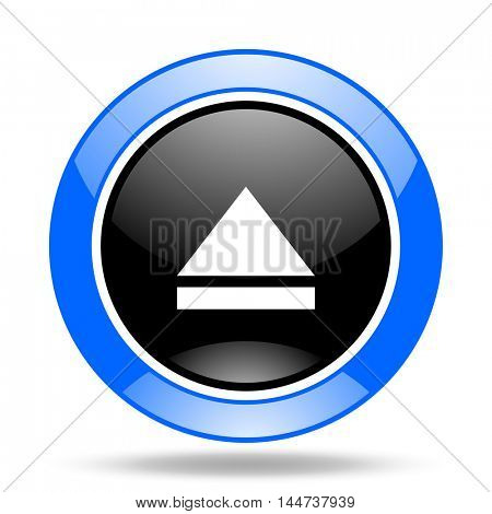 eject round glossy blue and black web icon