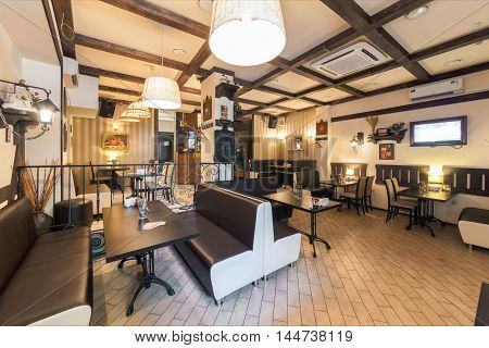 MOSCOW - JULY 2014: The interior is cozy Czech pub