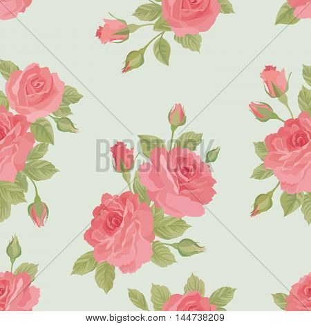Floral pattern. Flower rose posy watercolor plant pattern in retro style. Flourish ornamental background