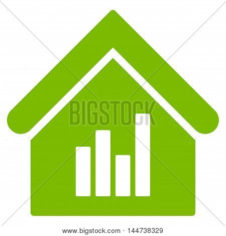 Realty Bar Chart icon. Glyph style is flat iconic symbol, eco green color, white background.
