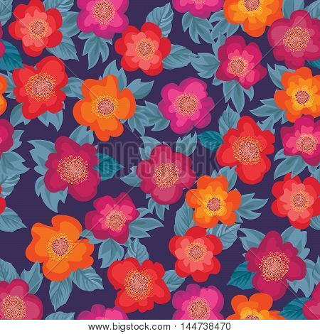 Floral Seamless Pattern. Flower Background. Floral Ornamental Texture With Flowers. Flourish Tiled W