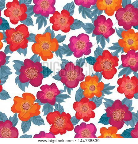 Floral Bouquet Seamless Pattern. Flower Posy Background. Ornamental Texture With Flowers Roses. Flou