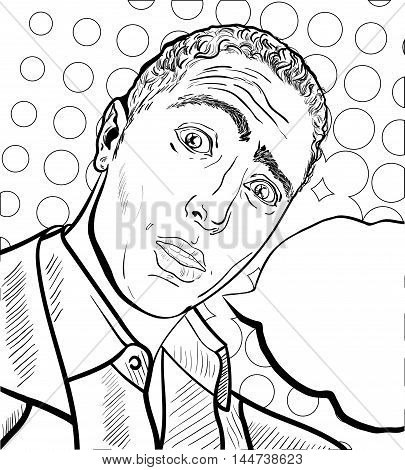Surprised frightened man coloring book with bubble in pop art style