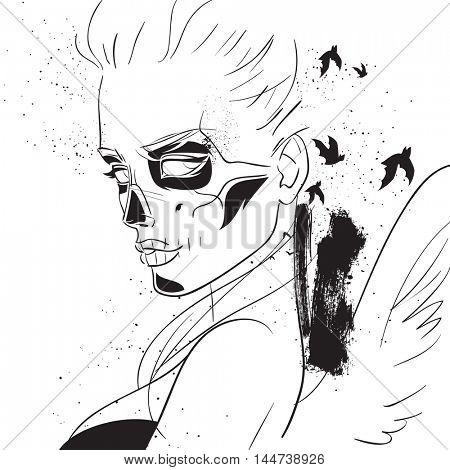 Day of the dead girl sugar skull