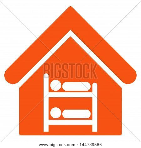 Hostel icon. Glyph style is flat iconic symbol, orange color, white background.