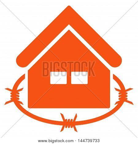Prison Building icon. Glyph style is flat iconic symbol, orange color, white background.