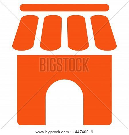 Shop Building icon. Glyph style is flat iconic symbol, orange color, white background.
