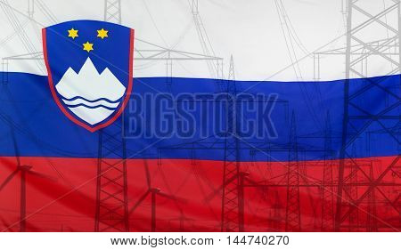 Concept Energy Distribution Flag of Slovenia merged with high voltage power poles