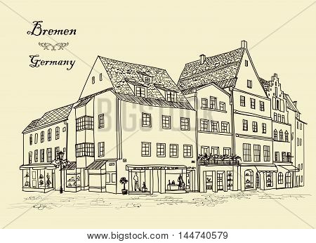 Street with old buildings and cafe in old German city Bremen. Cityscape - houses buildings and tree on alleyway. Old city view. Medieval european castle landscape. Urban landscape illustration. Pencil drawn vector sketch