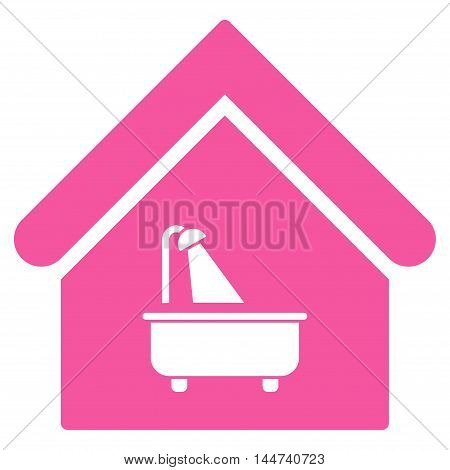 Bathroom icon. Glyph style is flat iconic symbol, pink color, white background.