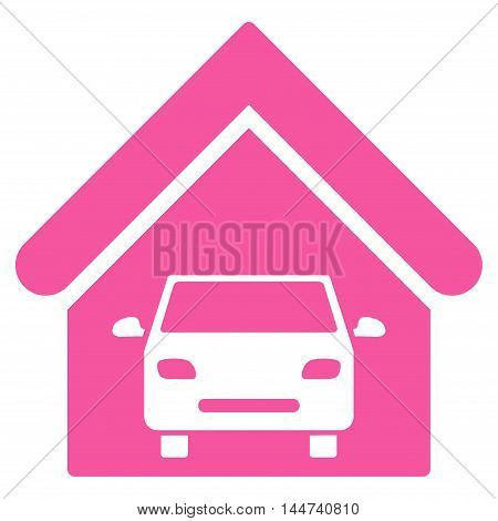 Car Garage icon. Glyph style is flat iconic symbol, pink color, white background.