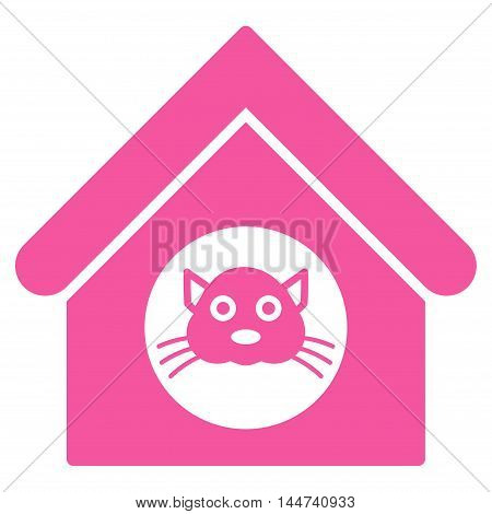 Cat House icon. Glyph style is flat iconic symbol, pink color, white background.