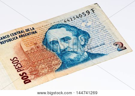 2 Argentinian peso bank note. Argentinian peso is the national currency of Argentina