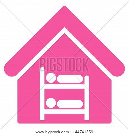 Hostel icon. Glyph style is flat iconic symbol, pink color, white background.