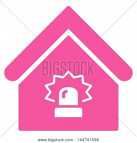 Realty Alarm icon. Glyph style is flat iconic symbol, pink color, white background.
