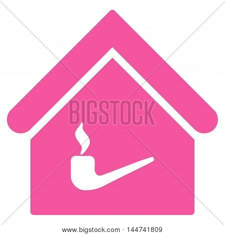 Smoking Room icon. Glyph style is flat iconic symbol, pink color, white background.