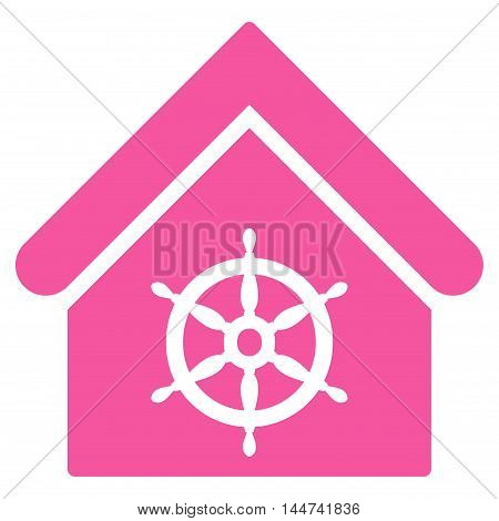 Steering Wheel House icon. Glyph style is flat iconic symbol, pink color, white background.