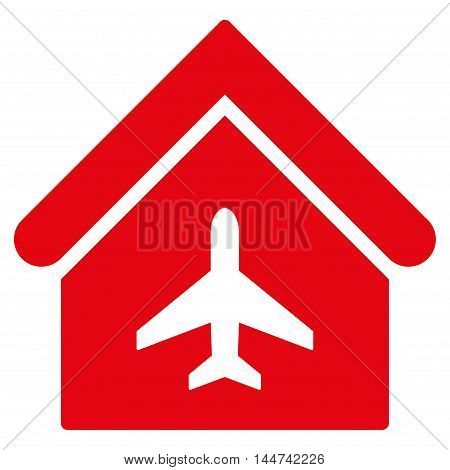 Aircraft Hangar icon. Glyph style is flat iconic symbol, red color, white background.