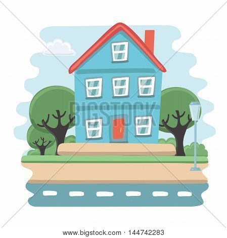 Vector illustration of small blue house. View of porch with tree, sky and road