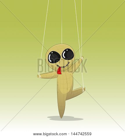 Concept of manipulating with fun cartoon doll. Vector
