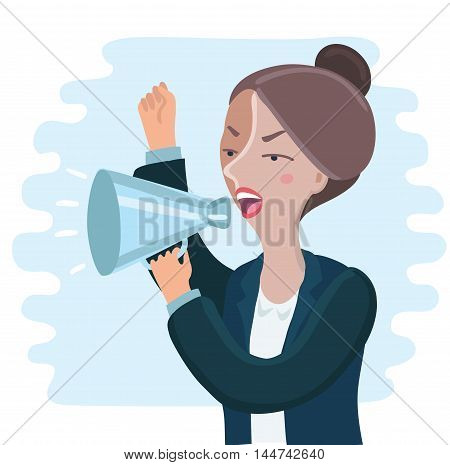 Vector illustration of pretty of angry Business woman yelling through megaphone and shakink her hand
