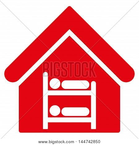 Hostel icon. Glyph style is flat iconic symbol, red color, white background.