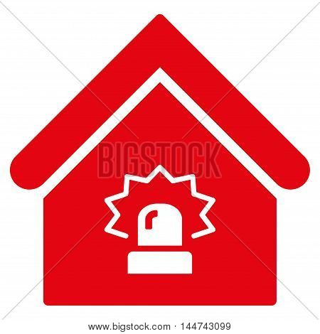 Realty Alarm icon. Glyph style is flat iconic symbol, red color, white background.
