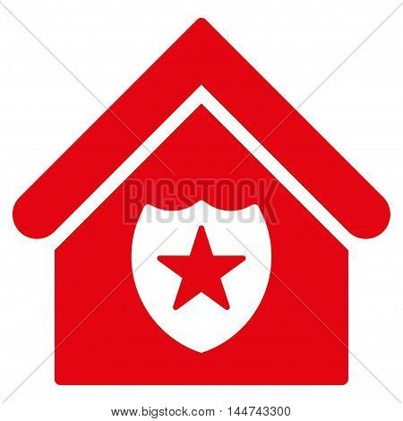 Realty Protection icon. Glyph style is flat iconic symbol, red color, white background.