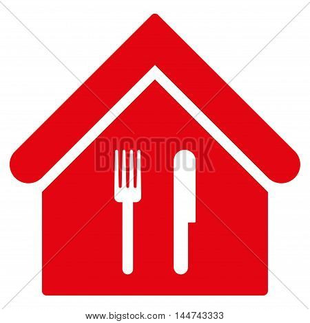Restaurant icon. Glyph style is flat iconic symbol, red color, white background.