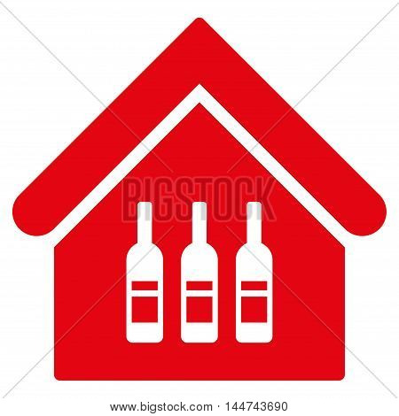 Wine Bar icon. Glyph style is flat iconic symbol, red color, white background.