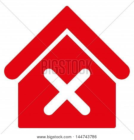 Wrong House icon. Glyph style is flat iconic symbol, red color, white background.