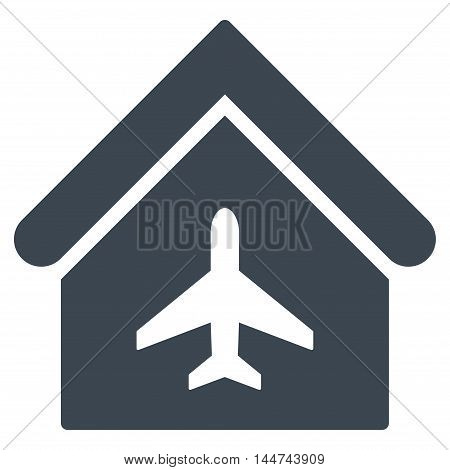 Aircraft Hangar icon. Glyph style is flat iconic symbol, smooth blue color, white background.