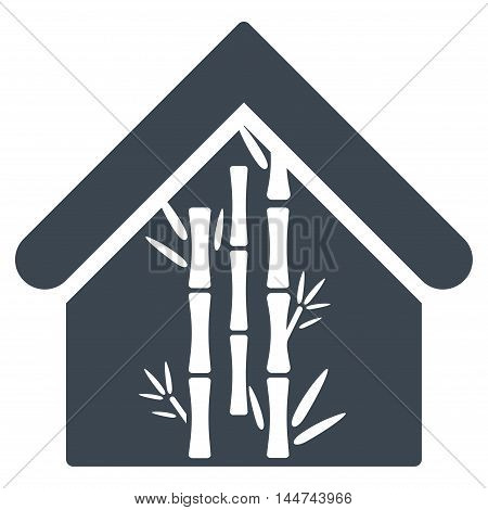 Bamboo House icon. Glyph style is flat iconic symbol, smooth blue color, white background.