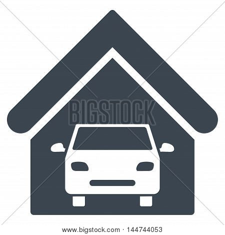 Car Garage icon. Glyph style is flat iconic symbol, smooth blue color, white background.