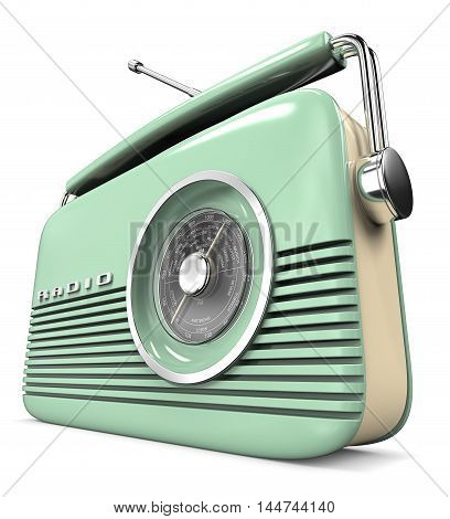 Perspective view 3D render of a Classic Green Retro Style Radio. Plastic.