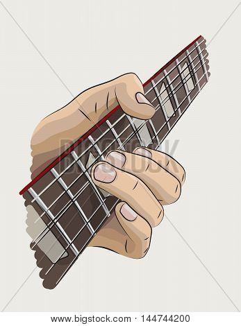 Playing guitar colored illustration. Left hand string bend.