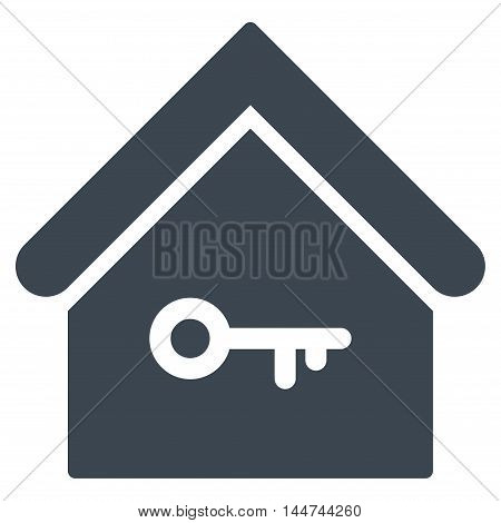 Home Key icon. Glyph style is flat iconic symbol, smooth blue color, white background.
