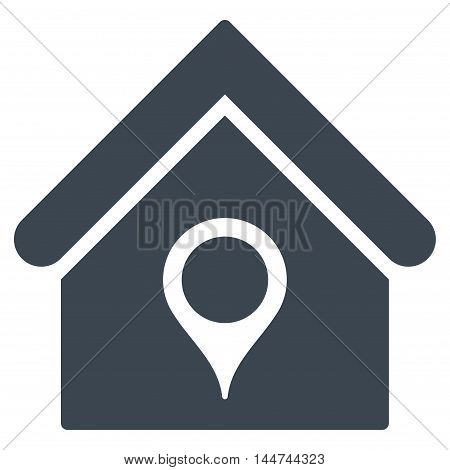House Location icon. Glyph style is flat iconic symbol, smooth blue color, white background.