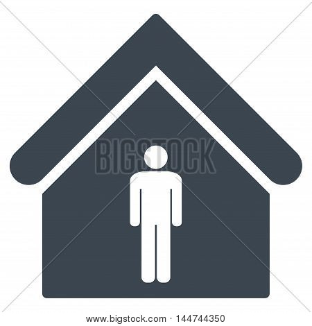 Man Toilet Building icon. Glyph style is flat iconic symbol, smooth blue color, white background.