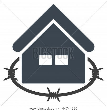 Prison Building icon. Glyph style is flat iconic symbol, smooth blue color, white background.