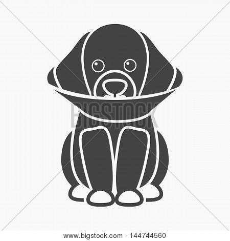 Sick dog vector illustration icon in black design
