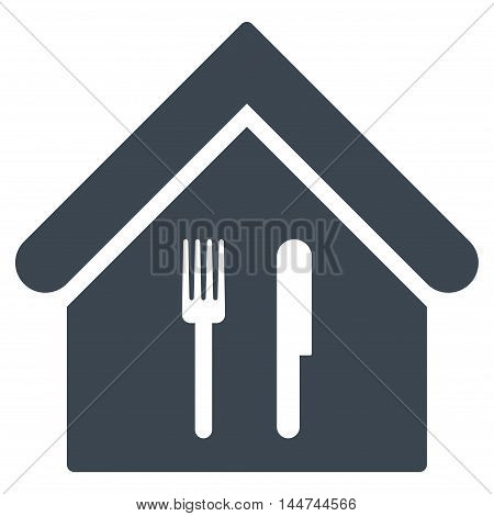 Restaurant icon. Glyph style is flat iconic symbol, smooth blue color, white background.