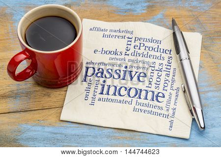passive income word cloud - handwriting on a napkin with a cup of coffee