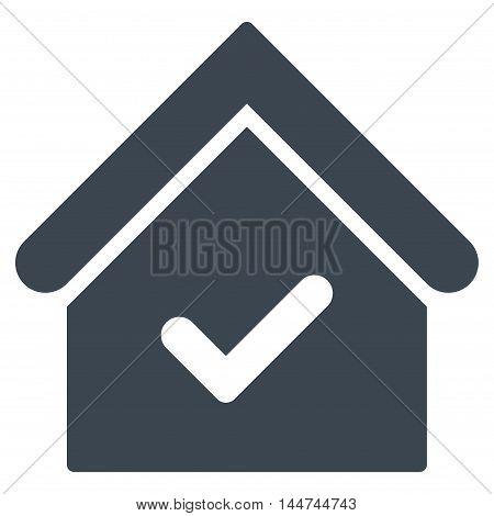 Valid House icon. Glyph style is flat iconic symbol, smooth blue color, white background.
