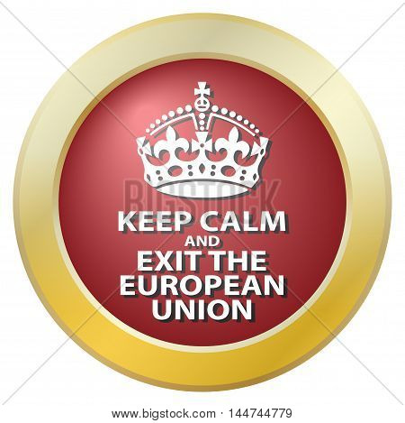 A keep calm and exit the european union icon isolated on a white background
